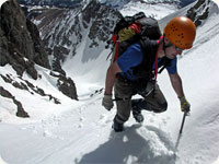 Andy Leach - Topping out of Grand Central Couloir on Nokhu Crags.